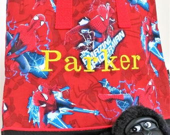 Spiderman Child Tote / School Tote / Book Travel Bag / Overnight Bag / Embroidered with Childs name