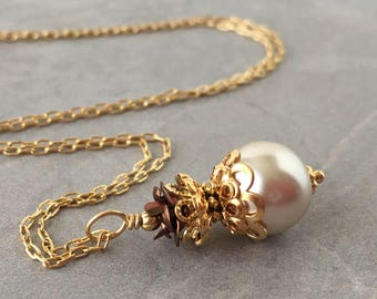 Beige Pearl Wedding Necklace, Pearl Pendant, Beige and Brown, Bridal Jewelry Sets, Bridesmaid Necklaces, Gold