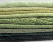 Soft and Fluffy Cashmere Sweater Pieces, Wool, Green, Earth Tones,Felting, Sewing, Small Projects, Wool Applique, Embellish