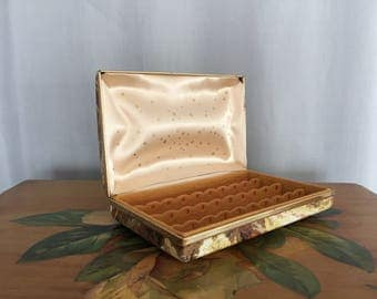 Small Jewelry Box Vintage Brown Yellow Gold Floral Travel Case Peach Cream Satin Stars Earring Holder