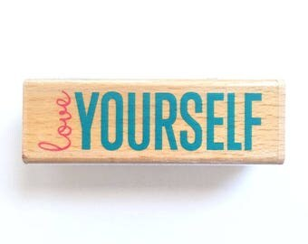 Love Yourself - Rubber Stamp, Greeting Cards, Etsy Shop, Logo, Branding, Packaging, Invitations, Party, Favors, Wedding Gifts