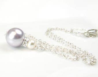 Light Violet Swarovski Pearl Necklace, Sterling Silver, Purple Pendant, Bridesmaid Necklace Gift, Pastel Spring Wedding Handmade Jewelry