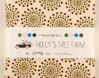 SALE Holly's Tree Farm Charm Pack Fabric - Sweetwater - Moda