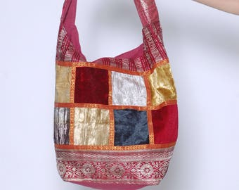 Vintage 90s PATCHWORK Boho Handbag Hippie BUCKET Bag Fabric Gypsy Bag