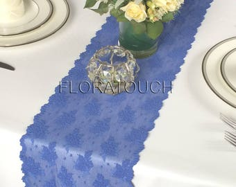 Blue Lace Table Runner with Flowers Wedding Table Runner