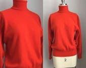 Vintage 1960s Red Cashmere Turtleneck Sweater Barrie of Scotland Size Medium