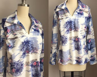 Vintage 1970s Victorian Men Hiking or Hunting Scenic Blouse Shirt Top Size  Medium