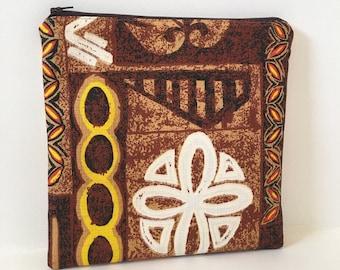 Zipper Pouch/ Vintage Hawaiian Barkcloth / Cosmetic Bag/ Travel Pouch