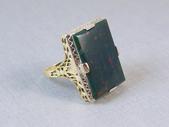 BIG and BOLD vintage Art Deco 14k two tone white and yellow gold filigree bloodstone statement ring, size 8.5