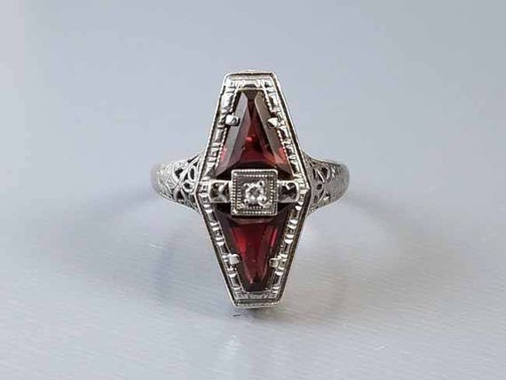 Antique early Art Deco 1920s 14k white gold filigree 1.72 carat genuine garnet and diamond navette ring signed Belais, size 5-3/4