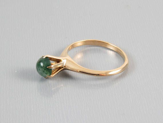 Edwardian rose gold mossy green agate solitaire signed H. Hailparn & Co / size 6