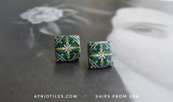 Green Stud Post Earrings Portugal Tile ARADA and Ovar -  (see photo of actual Facade)  Gift Box Included - Brass or Silver Plated 466