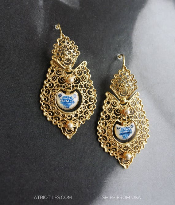 Earrings Silver Filigree Portugal Tile Antique Azulejo Queen's Earrings Évora Blue Delft Fruit Basket (see photo) Mother's Day 24k gold bath