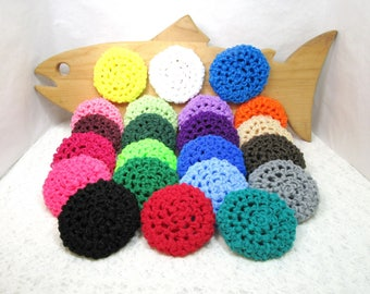 Pot Scrubbers, nylon net, pan scrubbie, home, kitchen, scour pad, eco-friendly, cleaning aid, 22 colors. PLEASE specify colors in notes.