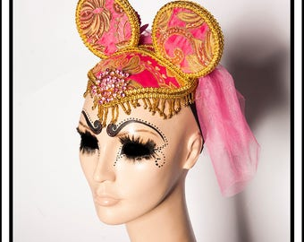 Party Princess... Neon Pink and Gold Mouse Ears with Tulle Net Veil and Beads Fascinator Headdress