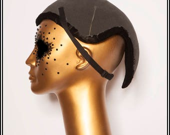 Mohawk with Horns Hat Base Black with Lining and Straps... Base For Headdress Hat Millinery Foam DIY