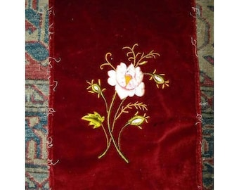 Vintage Embroidery Velvet Roses Fabric