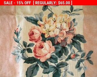 Vintage Fabric Barkcloth Cotton Roses