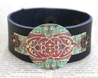 Cuff Bracelet, Leather Bracelets for Women, Leather Cuff Bracelets, Vintaj Jewelry, Green and Red Jewelry, Bracelet, Etruscan, Boho Jewelry