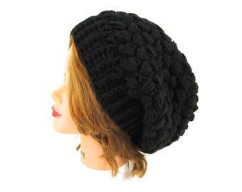 Black Slouchy Beanie - Women's Crochet Hat - Puff Stitch Beanie - Winter Headwear