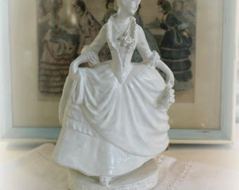 vintage Marie Antoinette type Chalk figurine ~  Shabby French statue