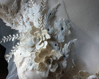 IVORY 3D Applique #3 , Beaded and Embroidered for Lyrical Dance, Ballet, Couture Gowns