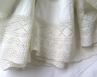 """Antique Knit Lace Flounce Petticoat Skirt Remnant in Off White Cotton 102"""" x 5-1/2"""" Wide Victorian Era"""