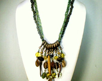Tribal HEAVY Beaded BIB Necklace, Green Glass Multistrand Beads with Brass and Glass Primitive Charm Dangles