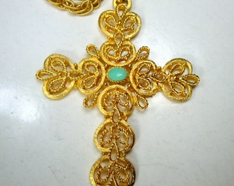 Gold Filigree Christian Cross On Gold Fancy Rope Chain, My Combo & Stone,  Religious Pendant with Aqua Blue Glass Center
