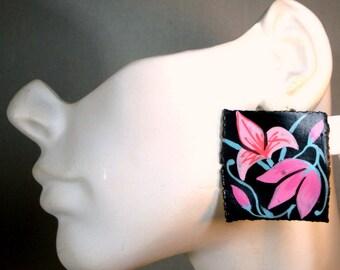 Pink Black Aqua Flower Post Earrings, 1980s Handmade Delicate Porcelain Ceramic, OOAK by Rachelle Starr