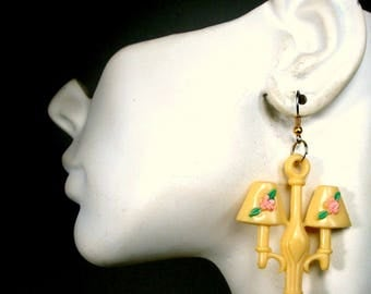 Boudoir LAMP Dangle Earrings, Ecochic Recycled Lampshade Pulls from 1940s, OOAK by Rachelle Starr