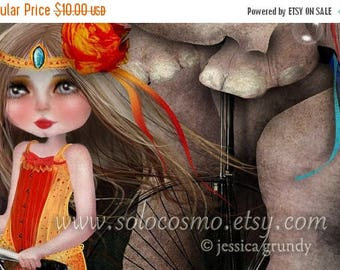 """50% Off SALE 5x7 Circus Art Premium Print """"A Bicycle Made for Two"""" Signed Small Giclee of Original Artwork - Little Girl and Elephant on Tan"""