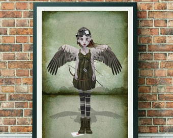 Cupid Art Print - Angel Of Love - A3 Art Print - Lowbrow Art
