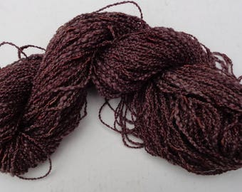 Hand dyed cotton bamboo seed yarn.  Natural walnut dye. Down to earth.