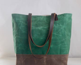Leaf Green Waxed Canvas Tote Bag with Leather Straps - Ready to Ship