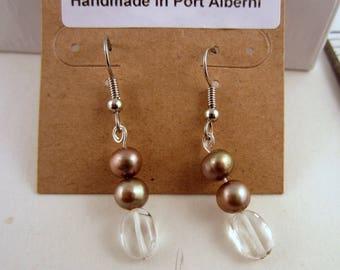 fresh water pears and crystal quartz earrings