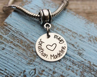 Personalized Mommy Charm with Kid's Names, Fits Pandora, Sterling Silver