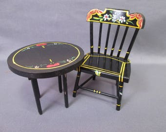 Vintage Doll Furniture - Hand Painted Pennsylvania Dutch Style Chair and Table - Play Scale
