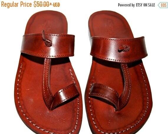 15% OFF Brown Twizzle Leather Sandals For Men & Women - Handmade Unisex Sandals, Flip Flop Sandals, Jesus Sandals, Genuine Leather Sandals