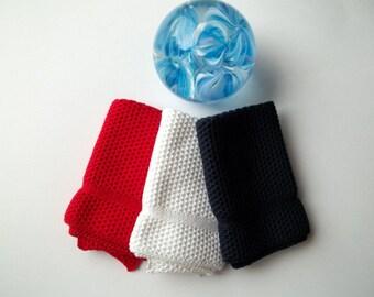 Dishcloths/Washcloths Knit in Cotton in Red, White and JazzBlue, knit dishcloth, knit washcloth