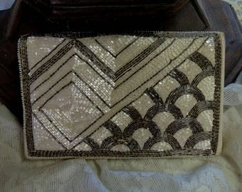 Art Deco Clutch Evening Bag, Grey And White Sequin Evening Bag,  Fold Over Clutch