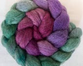 Hand dyed roving, Corriedale, Handspinning, felting projects, gradient dyed, felting materials,  combed tops, spinning wool, wet felting,