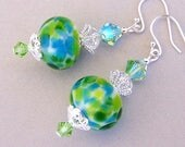 Green and blue lampwork and crystal earrings, sterling silver earwires, artisan lampwork glass beads, romantic Swarovski - Ocean Breeze