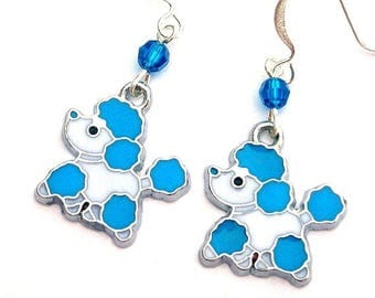 Blue poodle earrings, blue dog earrings, Swarovski crystal, turquoise and white dog jewelry