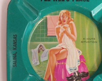 Vintage Pinup Advertising Ashtray turquoise metal PeeWee's Place Salina Kansas pin up girl