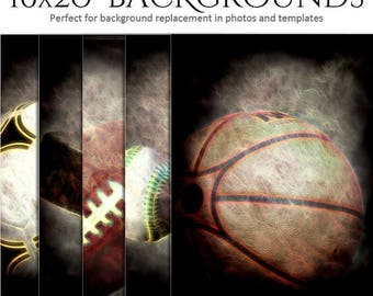50% Off - Sports Photography | Background Set | UP IN SMOKE | (5) 16x20 - Digital Backgrounds for Scrap Bookers and Sports Photographers.