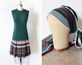 60s scooter dress, vintage 1960s mod dress, forest green + burgundy striped pleated drop waist dress with matching scarf, small s