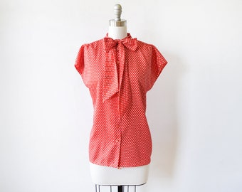 red polka dot blouse, vintage 80s blouse with ascot bow, 1980s red and white top, 2x