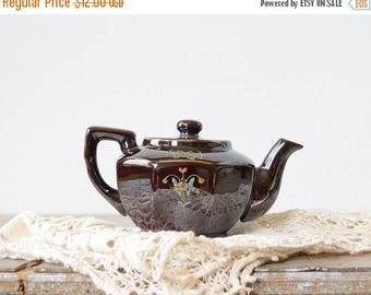 20% OFF SALE small Japanese teapot, vintage hand-painted brown floral teapot, made in Japan personal teapot