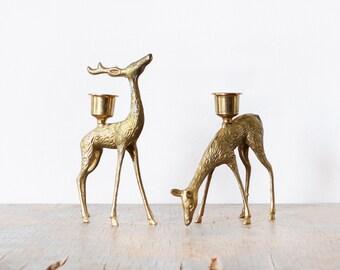 brass deer candle holders, vintage brass deer figurines, christmas holiday decor